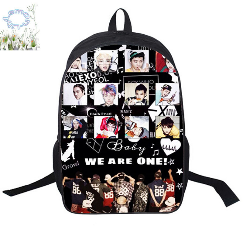 16inch Exo Backpack Double Zipper Polyester Space Backpack Girls Boys School Bag Mochila Escolar Teenage Free Shipping A073