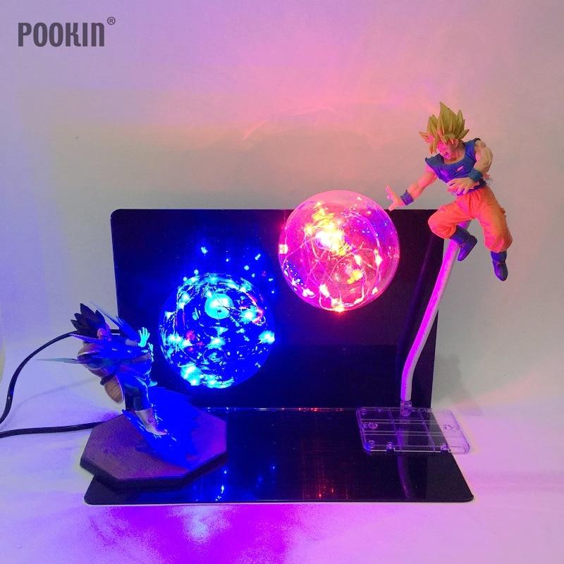 Exclusive Double Dragon Ball Son Goku Strength Bombs Luminaria Led Night Light Holiday Gift Room Decorative
