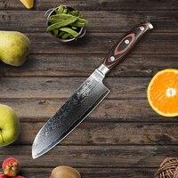 SUNNECKO 7 Santoku Damascus Kitchen Knife Japanese VG10 Steel Razor Sharp Blade Knives Wood Handle Cooking Cleaver Meat Cutter