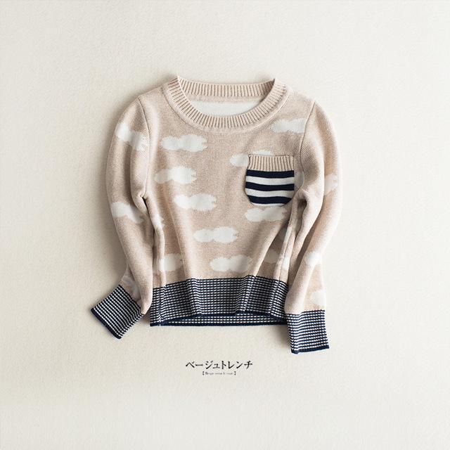 Primavera Otoño Niños Nube Patrón Suéteres Para Niños Niñas Bebé Otoño Suéter Cardigan de Punto Ropa de Niños