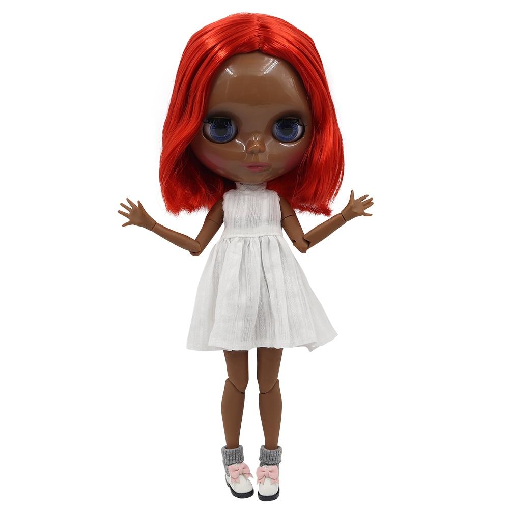 Icy Fortune Days Factory Blyth Doll Super Black Skin Tone Darkest Skin Short Red Hair Joint Body 1/6 30cm Bl1248 Dolls
