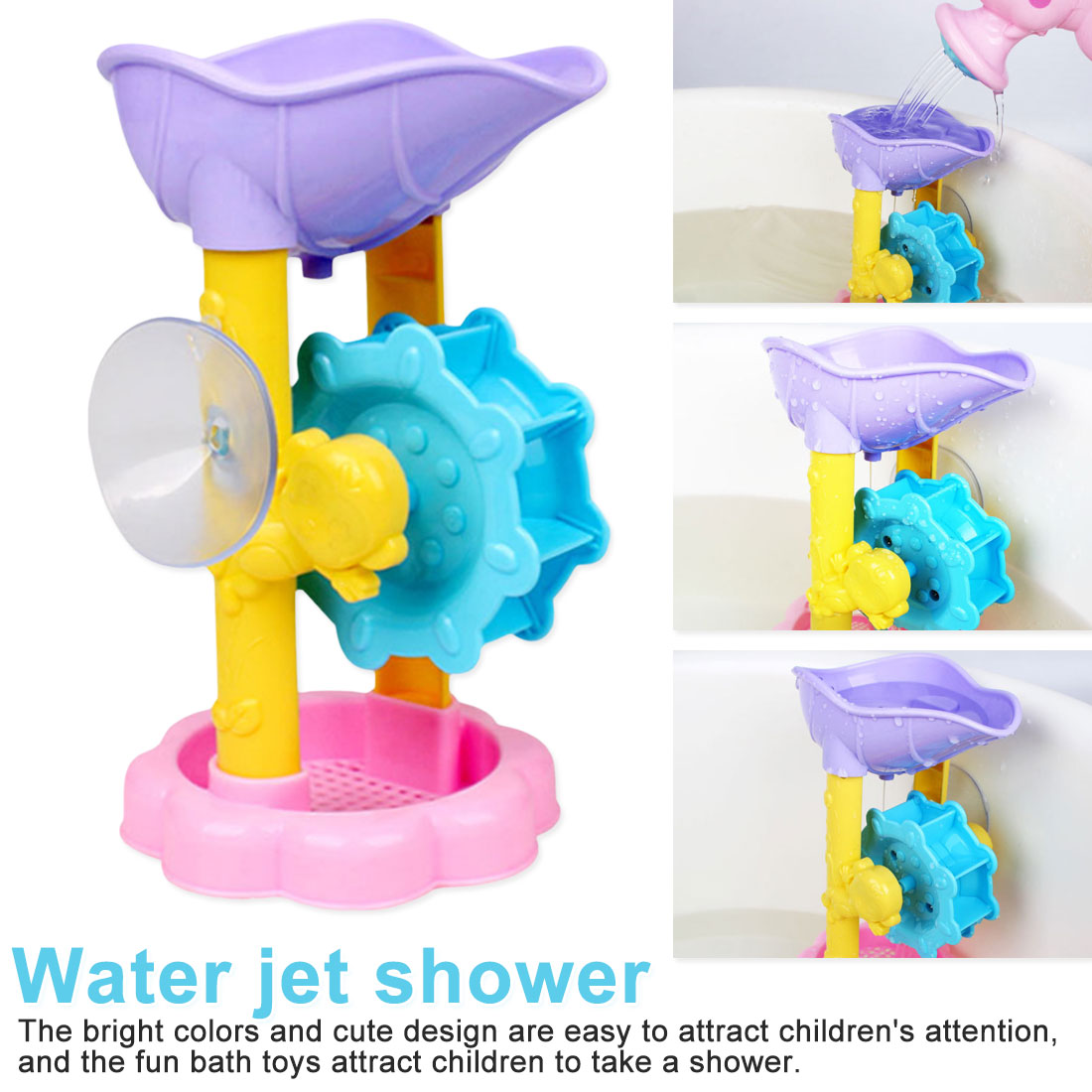 Cute Baby Bath Toys Shower Kids Shower Waterwheel Suit Baby Bath Toys Bathtub Foam Beach Swimming Pool