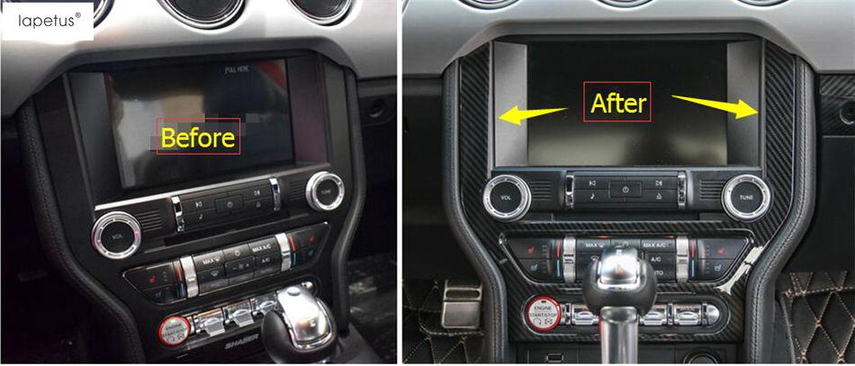 ABS ! Accessories For Ford Mustang 2015 2016 2017 Carbon Fiber Style Central Control Navigation GPS Display Panel Cover Kit Trim carbon fiber style for chevrolet camaro 2016 2017 abs car styling central middle panel frame cover trim 1 pcs