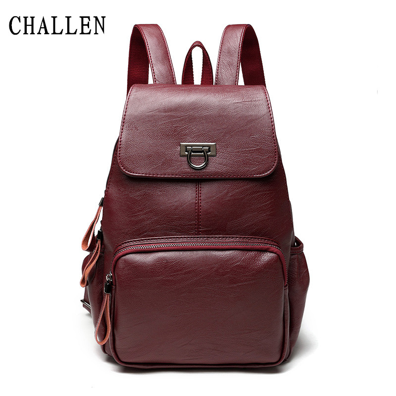 CHALLEN brand high quality PU leather women backpack vintage backpack for teenage girls casual bags female shoulder bags high quality cow split leather women backpack vintage backpacks for teenage girls casual bags female shoulder bags for students