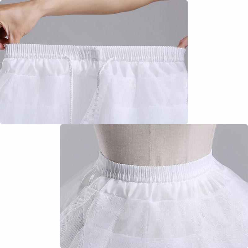 ファッションガールズプリンセスドレススカート無地弾性ウエスト花嫁介添人のウェディング 4 レイヤアンスコガールチュチュメッシュスカート 7