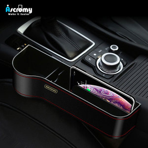 Image 1 - Ascromy Qi Wireless Charger Car Organizer Wireless Charging Station Storage Box Holder Car Seat Slit Gap For iPhone XS Max XR X