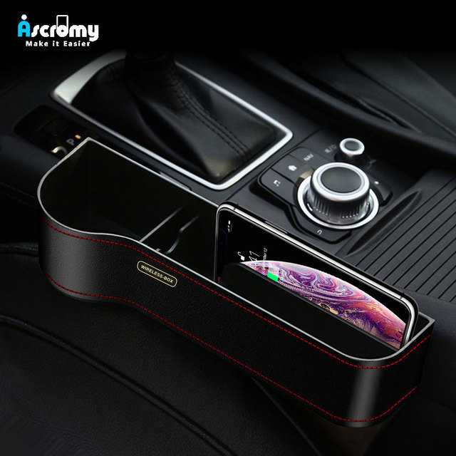 Ascromy Qi Wireless Charger Car Organizer Wireless Charging Station Storage Box Holder Car Seat Slit Gap For iPhone XS Max XR X