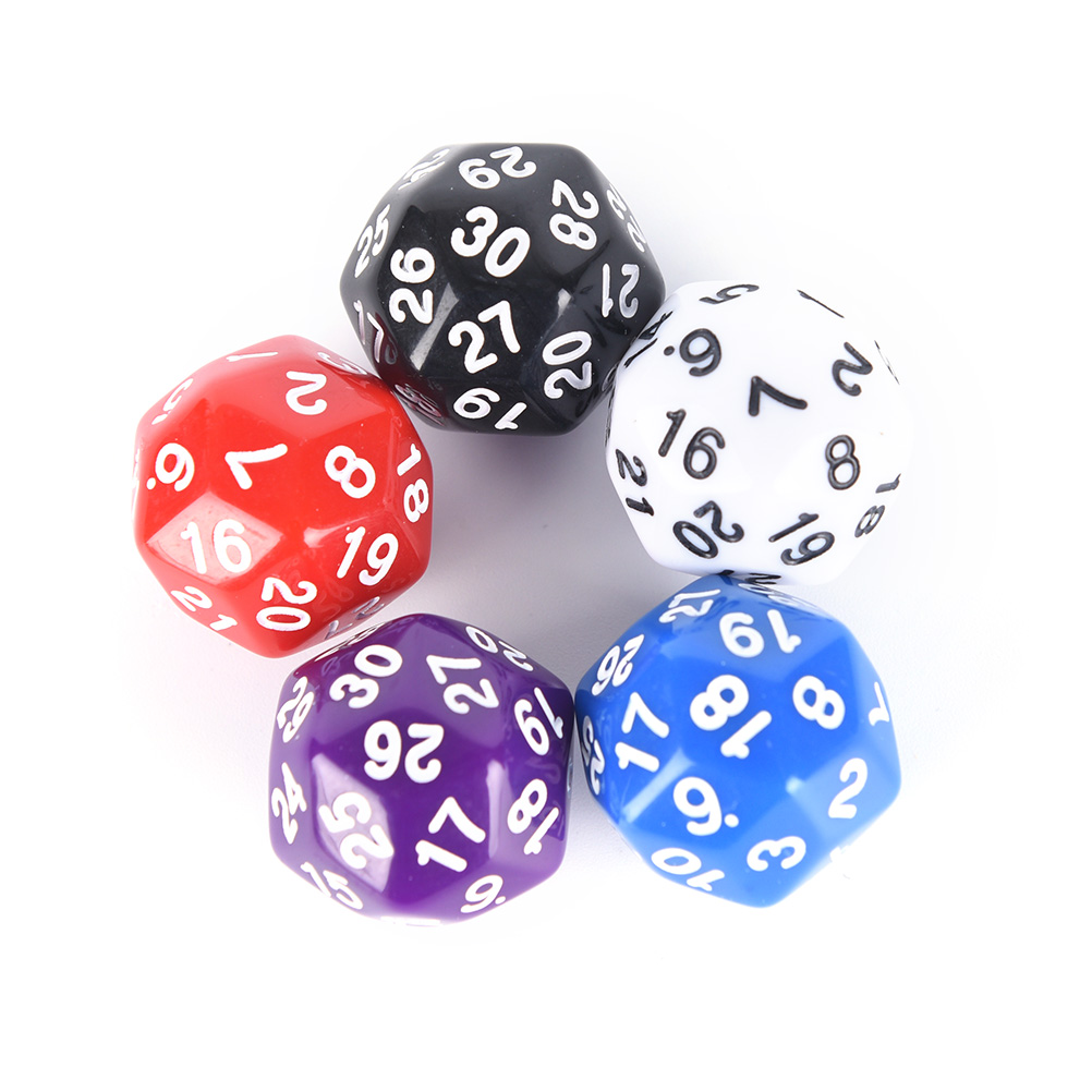 1PCS 5 Colors white red purple blue black 30 sided Dice High Quality Plastic Cubes Dice 25mm image