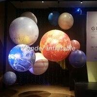 LED Lighting 2m Giant Inflatable Planet Balloons Earth Moon Jupiter Saturn Uranus Neptune Mercury Venus For