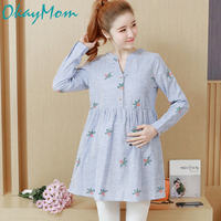 2019 Maxi Maternity Blouse Shirt Dresses Clothes Pregnancy Tops Tees Clothing Blue Long Sleeve Office Wear Clothes For Pregnant