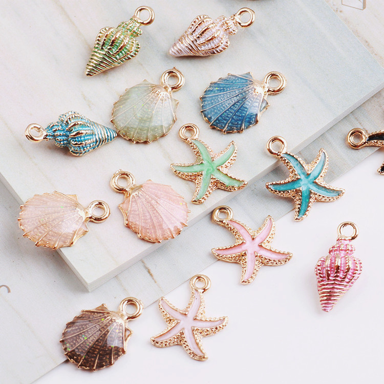 MRHUANG 10pcs Coloful Nautical Ocean Starfish Shell Conch Sea Enamel Charms DIY Bracelet Necklace Jewelry Accessory DIY Craft(China)