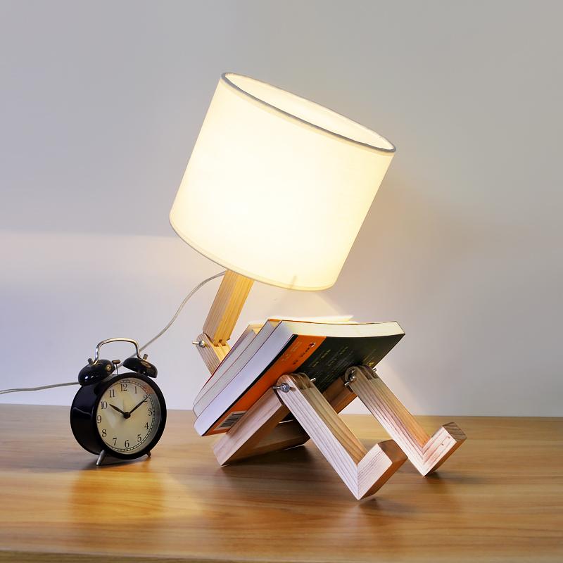 Nordice Modern Creative Gifts Foldable Robot Desk Table Lamps Wooden Base Table Lamp Bedside Reading Desk Lamp Home Decor Light Fixture (10)