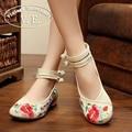 Старинные Вышивки Женщин Квартиры Старого Пекина Мэри Джейн Балетные туфли на Плоской Подошве Павлин Случайные Ткань Обувь Женщина Плюс Размер 43