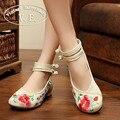 Bordado de la vendimia de Las Mujeres Ballet Pisos Mary Jane del Antiguo Pekín Zapatos de Tela Plana Zapatos del Pavo Real Casual Mujer Plus Size 43