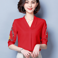 Vintage Autumn Blouse Embroidery Plus Size Chiffon Red White Green Boho Casual Shirt Kleding Vrouwen Office Blouse V Neck D059H
