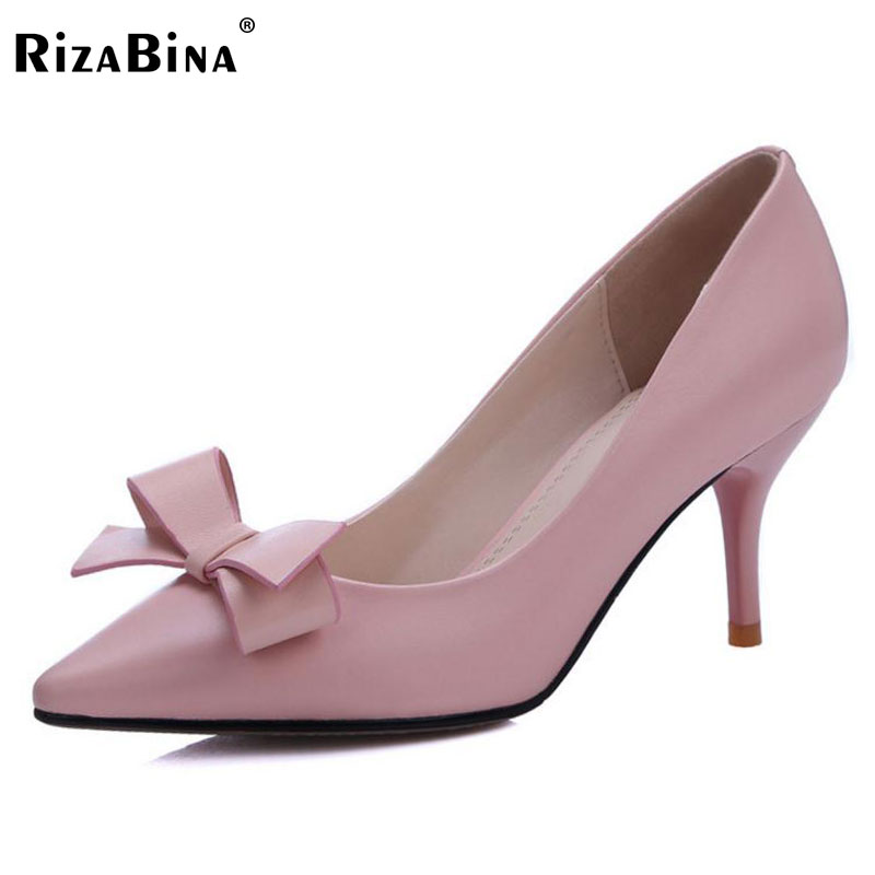RizaBina 34-39 Ladies Real Leather Thin High Heels Pumps Women Sexy Pointed Toe Slip On Pumps With Bowknot Women Party Footwear ladies real leather high heels pumps pointed toe sexy thin high heeled shoes women shine wedding party footwears size 34 39
