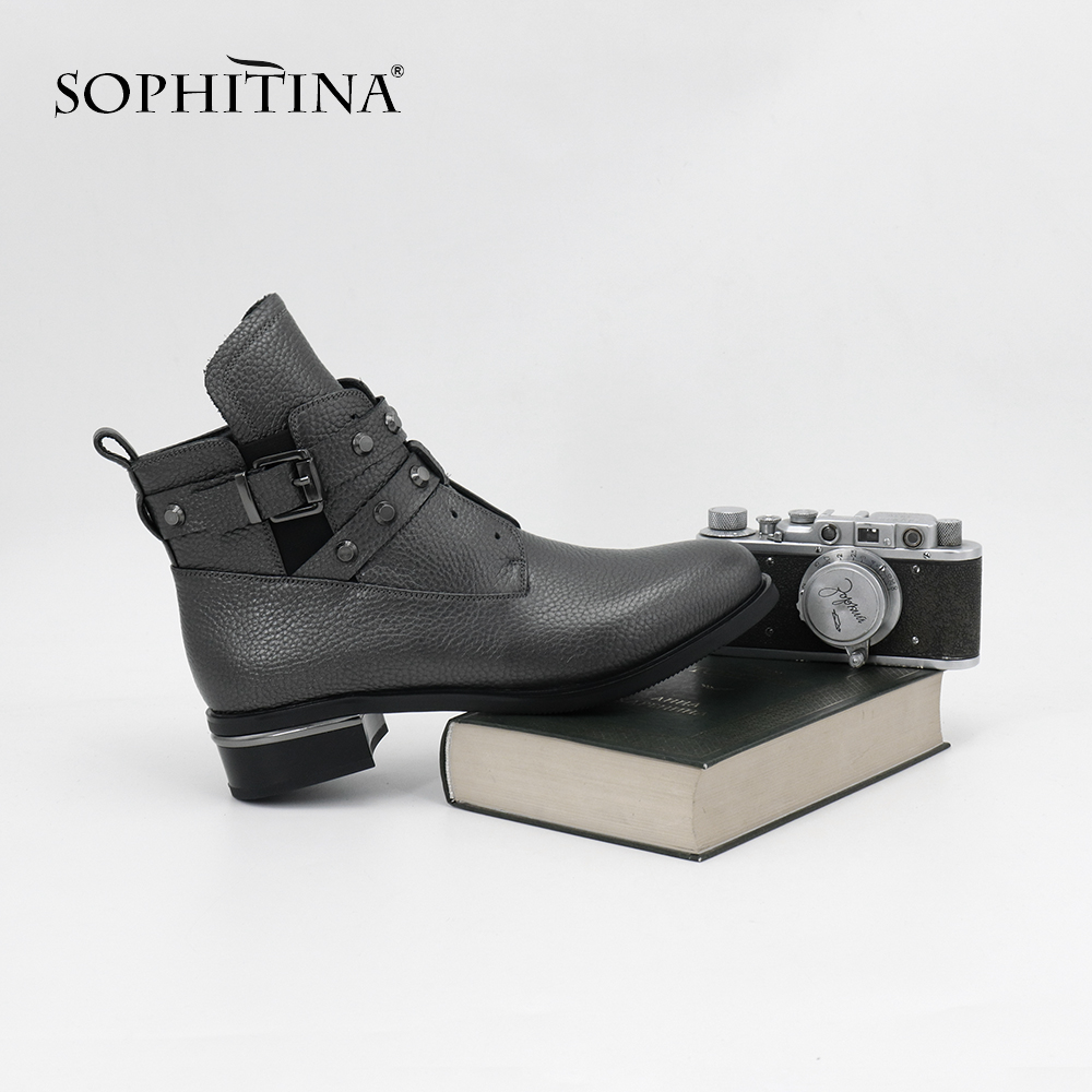 SOPHITINA New Winter Cow Leather Zipper Boots Square Heel With Metal Decoration Rivet Buckle Skidproof Ankle Brand Boots ML24