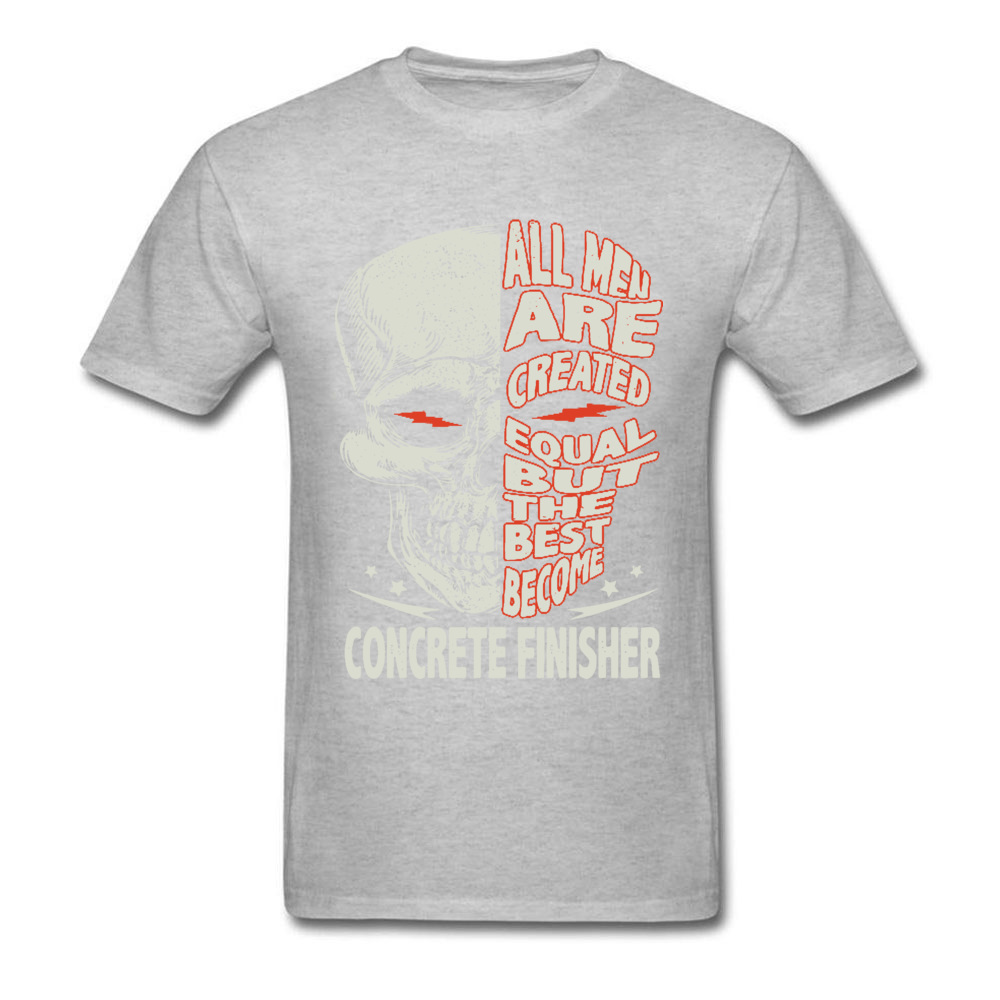 Skull-all-men-are-created-equal-but-the-best-become-bike- O Neck T-Shirt Summer Custom Tees Discount 100% Cotton T-shirts Mens Skull-all-men-are-created-equal-but-the-best-become-bike- grey