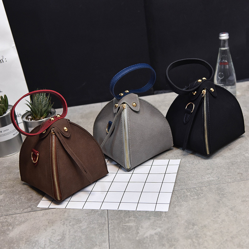 PACGOTH New Trendy Fashion PU Leather Scrub Solid Triangle Zongzi Wristlets Mini Clutches Tote Shoulder & Crossbody Bags 1 Piece