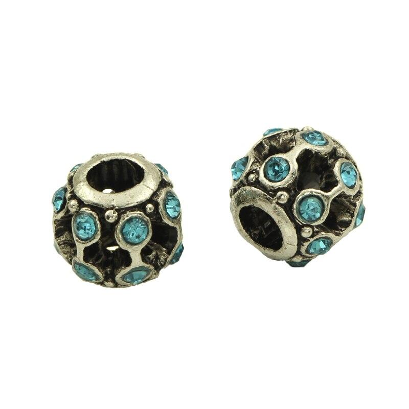 20-50pcs Peacock Blue Rhinestone Tibetan Silver Plated Bar-type Spacer European Big Hole Beads For DIY Jewelry Charms Bracelets