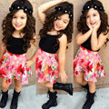 Summer Fashion Black Vest + Floral Skirt Girls Clothing Set Boho Sweet Kids Skirt Suits Faldas Girl Clothes Shirt KD400