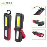 ZPAA USB Rechargeable LED Flashlight Torch Work Light Stand COB Lanterna Magnetic HOOK Built In Battery