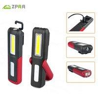 ZPAA USB Sạc LED Flashlight Torch Đứng Việc Nhẹ COB Lanterna HOOK Magnetic Được Xây Dựng Trong Pin Sáng Công Việc Sửa Chữa Đèn