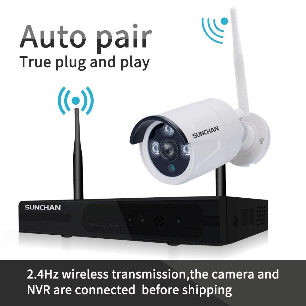 SUNCHAN 4CH Array HD Home WiFi Wireless Security Camera System DVR ...