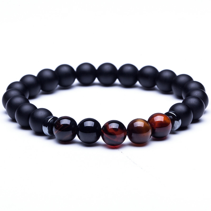 2018 Natural stone bracelet Frosted Hematite Tiger Eye Stones Beaded Bracelet Charm Men Bangles accessories Womens jewellery