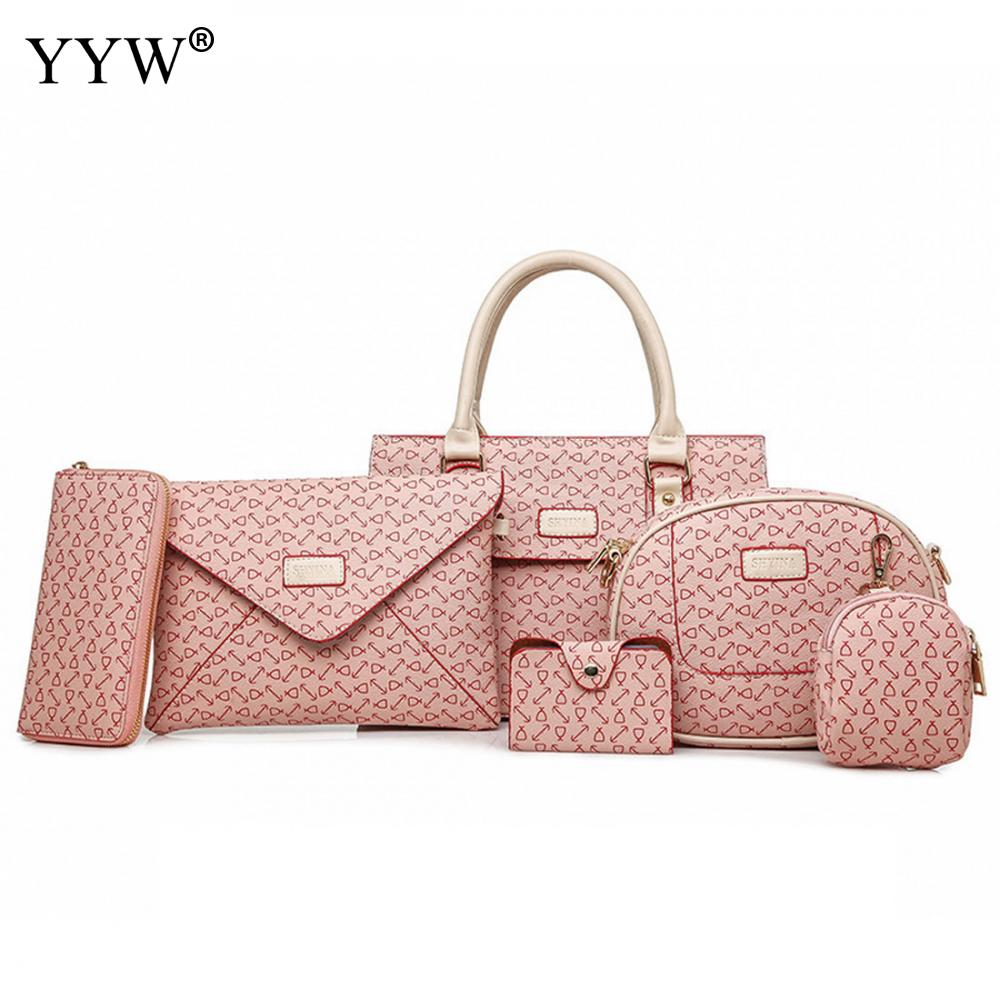 Top-Handle Bags Set Buy 1 Get 6 Women's PU Leather Handbags Famous Brands Lady's Clutch Bag Luxury Women Crossbody Shoulder Bag miwind new fashion leather handbags high quality women shoulder bags buy one get another free full set 6 pieces more favorable