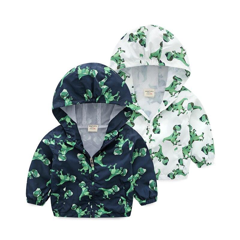 2018 Новое поступление весна динозавра Спорт Пальто для будущих мам для мальчиков и девочек костюм с капюшоном для детей ветровка Куртки