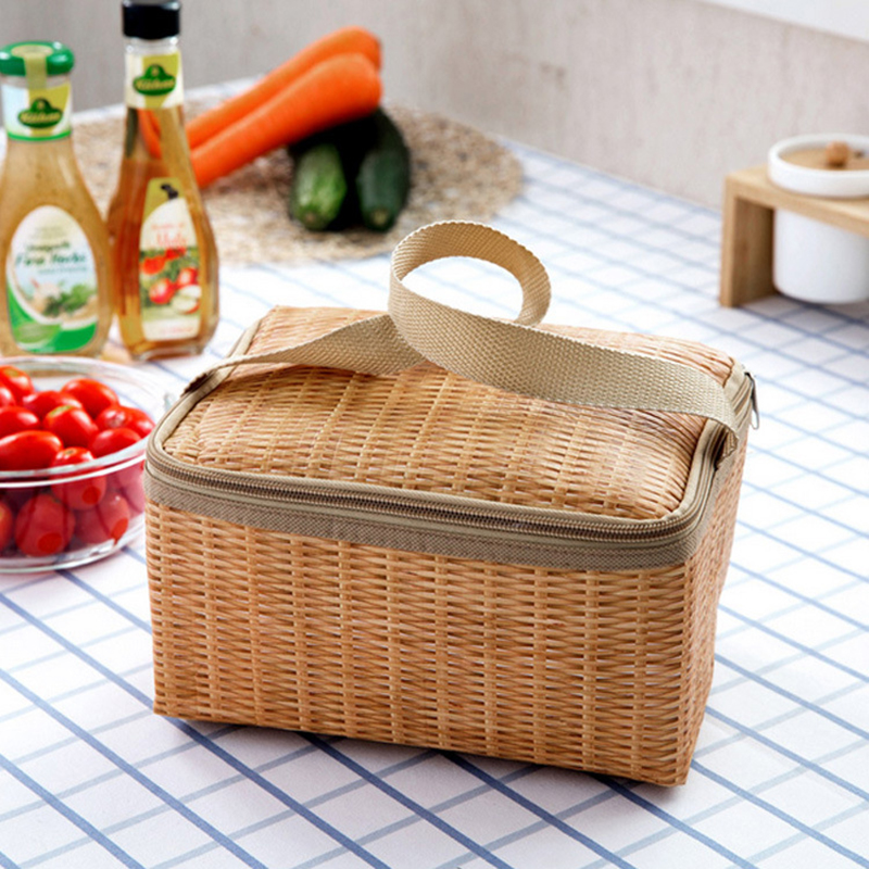 Portable Insulated Thermal Cooler <font><b>Lunch</b></font> <font><b>Box</b></font> Canvas Imitation Rattan <font><b>Lunch</b></font> Bag Picnic Container image