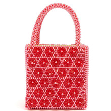 New Pink Beaded Handbag Six Petals Drop Woven Pearl Ladies Designer Bags  Brand High Quality Wedding Banquet Handbags