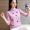 2017 Spring and winter women 's new love embroidery sweater pullover pullover women' s bottoming shirt