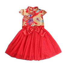 Childrens Clothing Spring Baby Girls Floral Dresses Fashion Chinese Red Long for Holiday