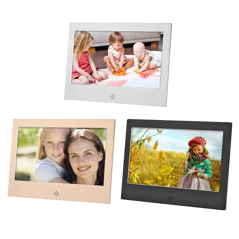 цены ALLOYSEED 7 Inch Digital Photo Frame 720P Video Music Calendar Clock Player 1024x600 Resolution Metal Frame w/Remote Control