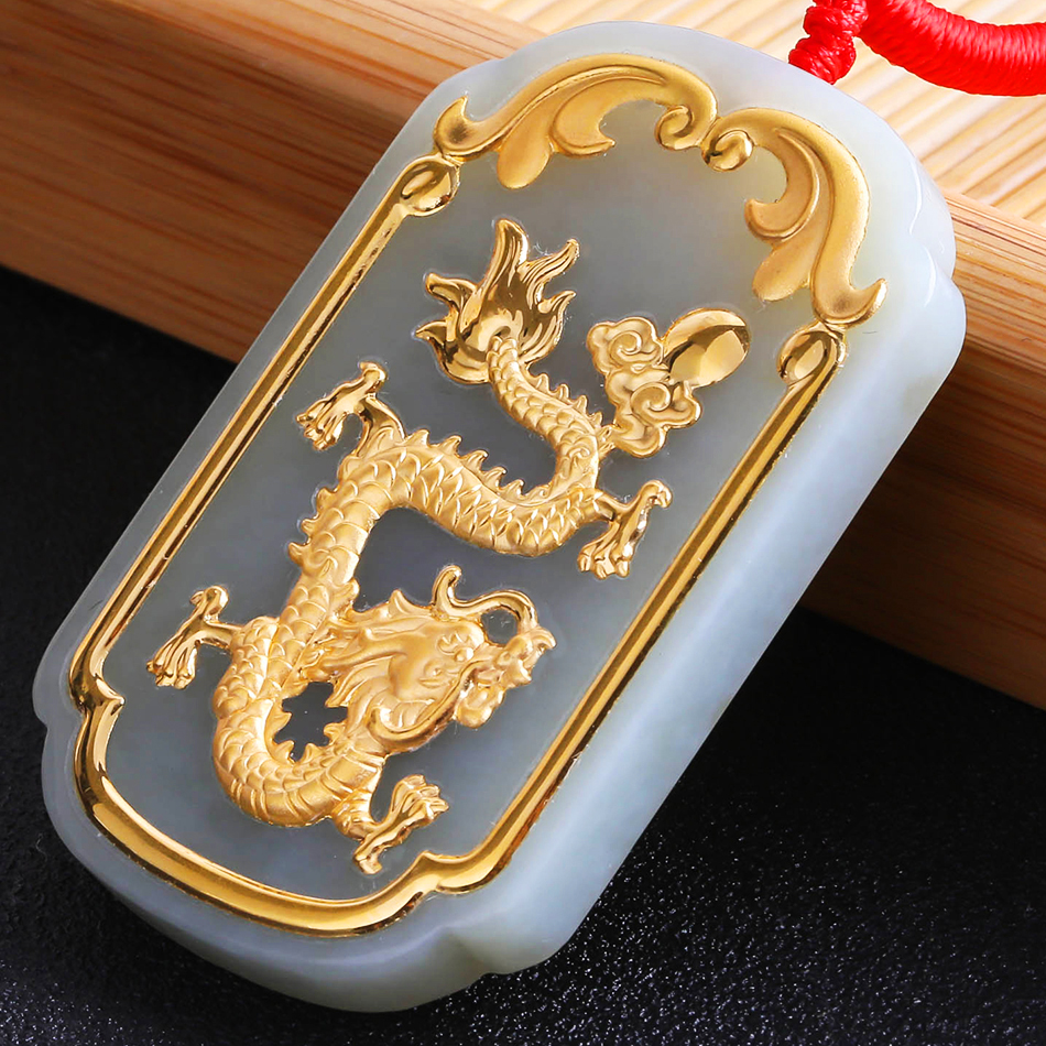 2018 new model Xinjiang Hetian Jade Dragon Pendant, Golden dragon Pendant Golden Jewel Long Fengpei pendant 8644 ...