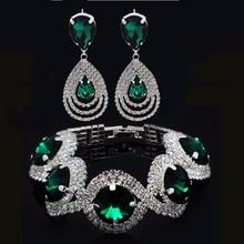 Fashion Wedding Bridal Jewelry Sets Rhinestone Austrian Crystal Jewelry Set Bracelet Earrings Pendant Set Vintage Accessories