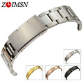 ZLIMSN Watchbands 18 - 30mm Mens Solid Stainless Steel Watch Band Strap Rose Gold Silver Black Women Bracelet Relojes Hombre S3