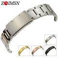 Zlimsn pulseiras 18-30mm mens relógio de aço inoxidável sólido Cinta banda Rosa de Ouro Prata Preto Mulheres Pulseira Relojes Hombre S3