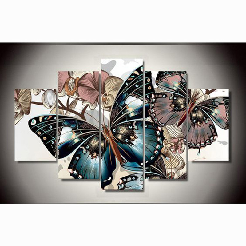 diy 5pcs/set mosaic full 5d diamond embroidery beautiful butterfly 3d diamond painting cross stitch square drill multi pictures