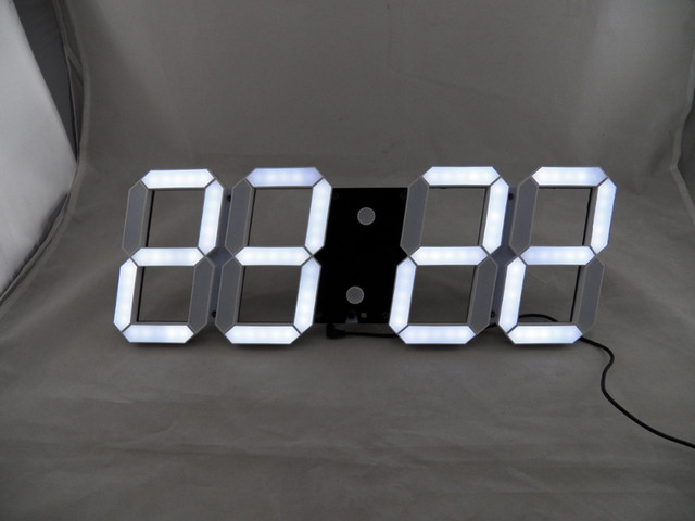 Large Modern Design Digital Led Wall Clock Creative Vintage Watch Home Decoration Decor Alarm Temperature White Gift