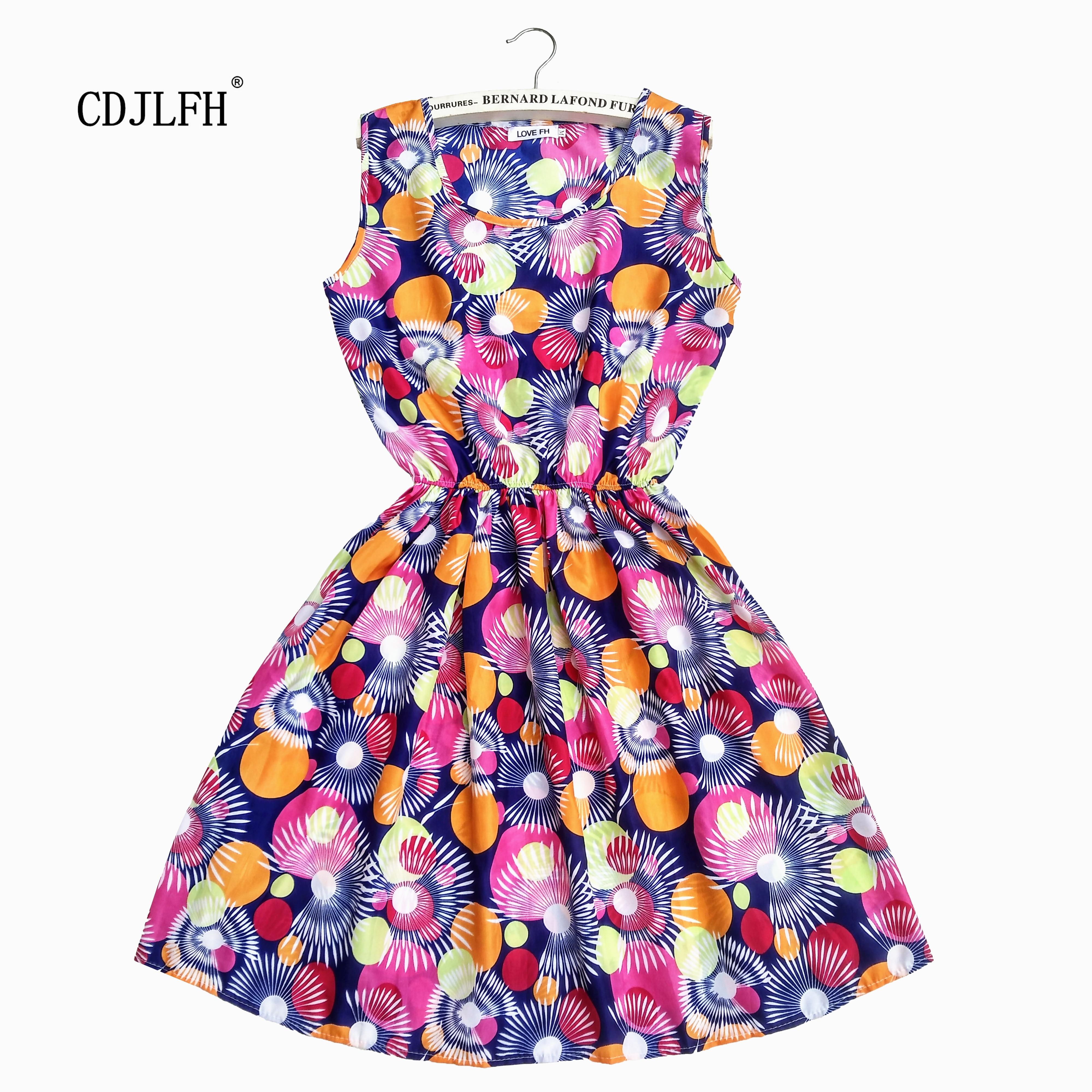 CDJLFH Summer Women Beach Dress Floral Printed Chiffon