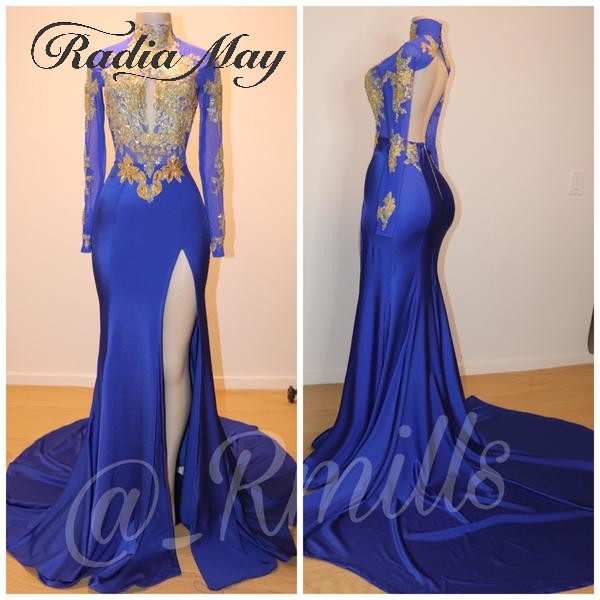 Royal Blue Long Sleeves Backless Mermaid African Prom Dresses Burgundy And Gold Lace Appliques Black Girls Gala Graduation Dress