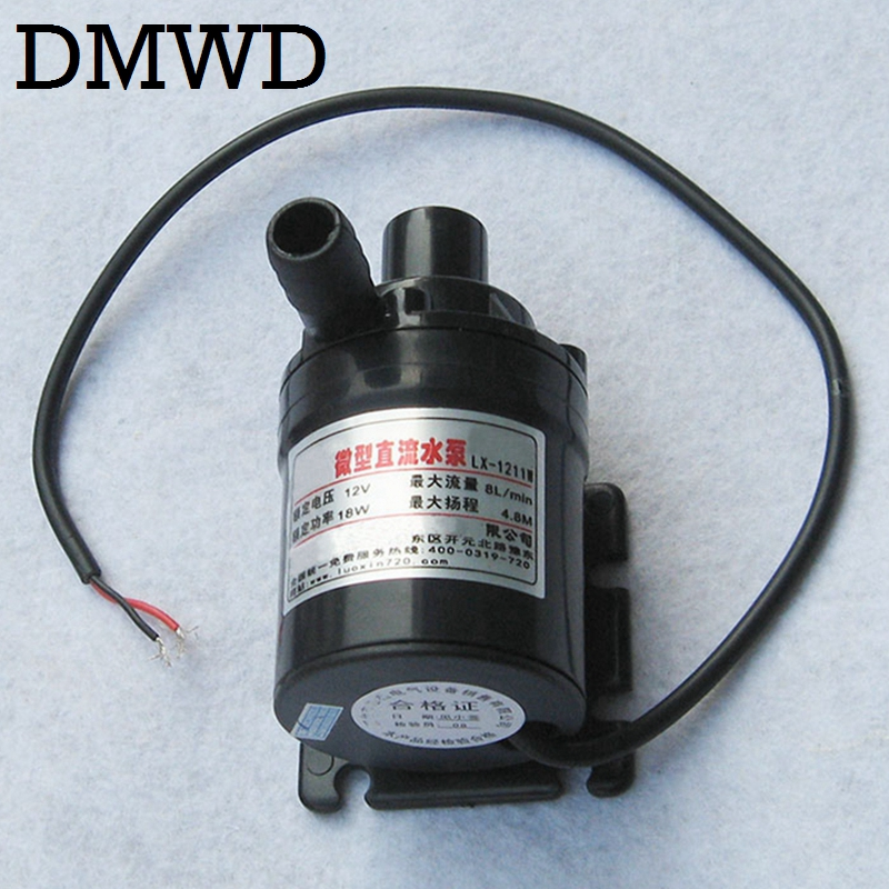 DMWD DC 12V Mini Brushless electric land Submersible Motor Water Circulation Pump Ultra-quiet Waterproof waterpump 8L/min 4.8M 51mm dc 12v water oil diesel fuel transfer pump submersible pump scar camping fishing submersible switch stainless steel