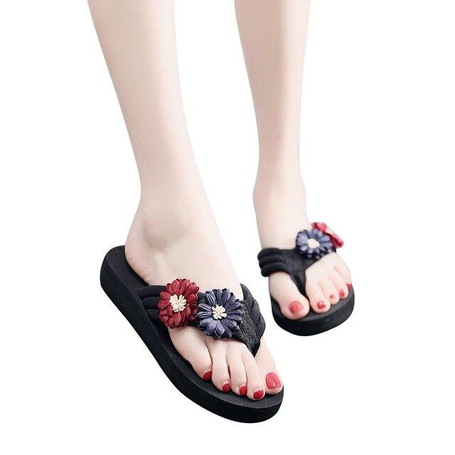 summer slippers for women beach shoes Women's Ladies Slippers Flowers Home Beach Shoes Sandals Flip Flops zandalias de mujer NEW