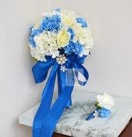 Handgemachte künstliche blume hochzeit blume blau weiß abteilung der braut mit blumen rose