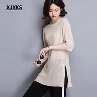 XJXKS Knitwear Summer Sweater Women Thin Ice Silk Long Top Female Half Sleeve Round Neck Hollow Out Solid Pullover