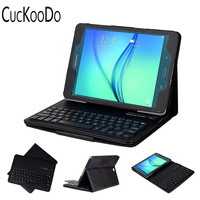 CucKooDo Ultra Slim Detachable Bluetooth Keyboard Portfolio Leather Case Cover for Samsung Tab A 9.7 Inch T550 T555 2015 Edition