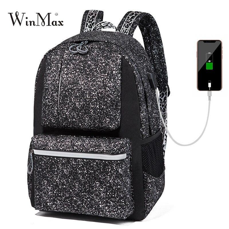 Herrentaschen Trendmarkierung Winmax Neue Frauen Männer Schule Rucksack Anime Leucht Usb Ladung Laptop Computer Rucksack Für Teenager Anti-diebstahl Jungen Schule Taschen